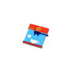 Red Blue Barista Coffee Geek Italy Espresso Machine Brewer Pin Brooch Badge