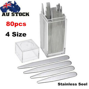 80x-Stainless-Steel-Collar-Stays-Stiffeners-4-Size-in-Plastic-Box-for-Shirts