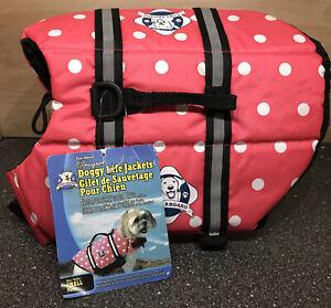 Paws Aboard Adjustable Pink Polka Dot Dog Life Jacket (Preserver Vest) Boating