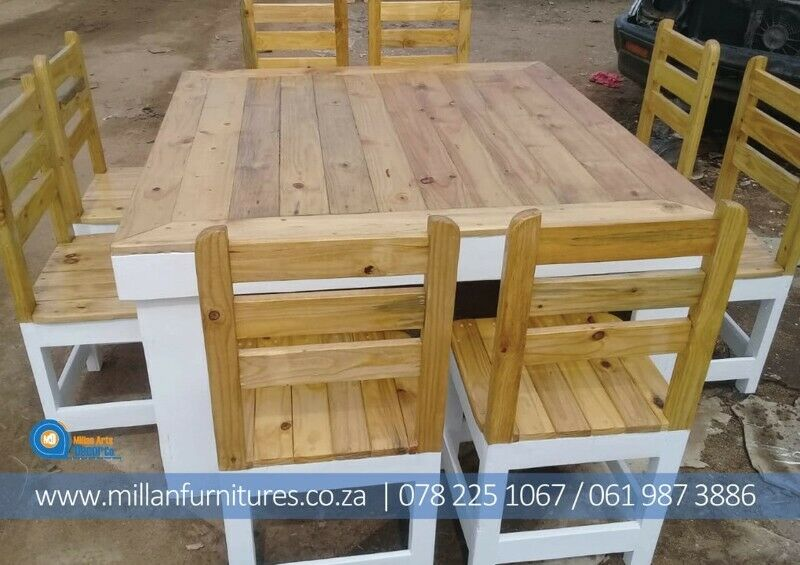 STRONG SOLID DINNING TABLES AND BENCHES SETS