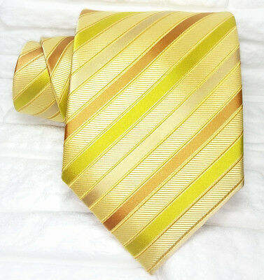 Cravatta Uomo 100% Seta Made In Italy Diplomatica Arancione Oro Gialla Business
