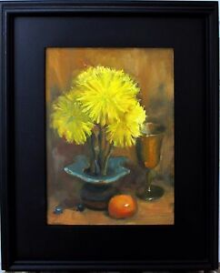 Framed-Still-Life-9x12-Oil-Painting-Impressionism-Original-Art-Yellow-Zinnias