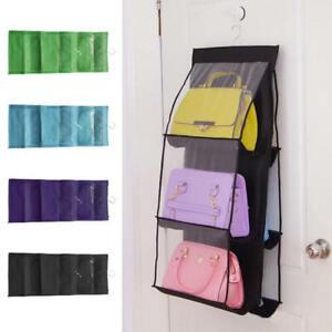 6-Pocket-Bag-Handbag-Storage-Holder-Organizer-Rack-Hook-Hang-Wardrobe-New