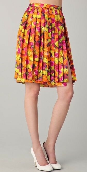 Peter Som A-Line Pleated Silk Skirt US Size 14 orange Yellow Pink Floral  810