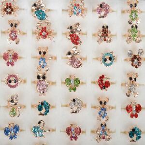 2792b5877 5-50X Wholesale Mixed Cartoon Crystal Children Kids Rings Gold Ring ...