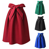 Women High Waist Sexy A Line Flared Skater Skirt Casual Party Pleated Midi Dress