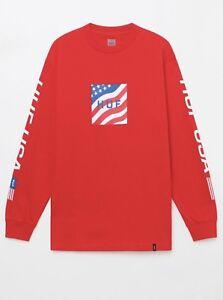 HUF-Long-Sleeve-T-Shirt-HUF-USA-Flag-Logo-LIMITED-EDITION-Mens-Large