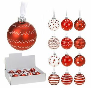 image is loading box of 12 real glass red christmas tree