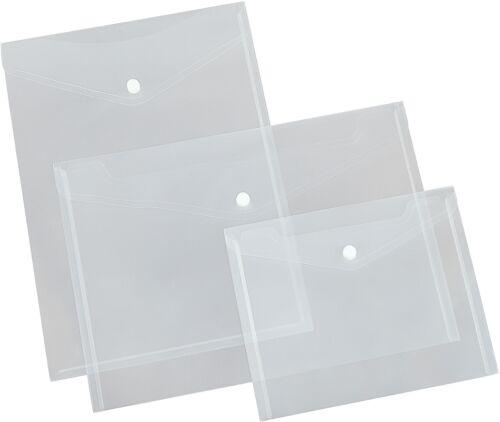 5x Dokumententasche mit Verschluss Klett oder Druckknopf Hülle Klarsichttasche
