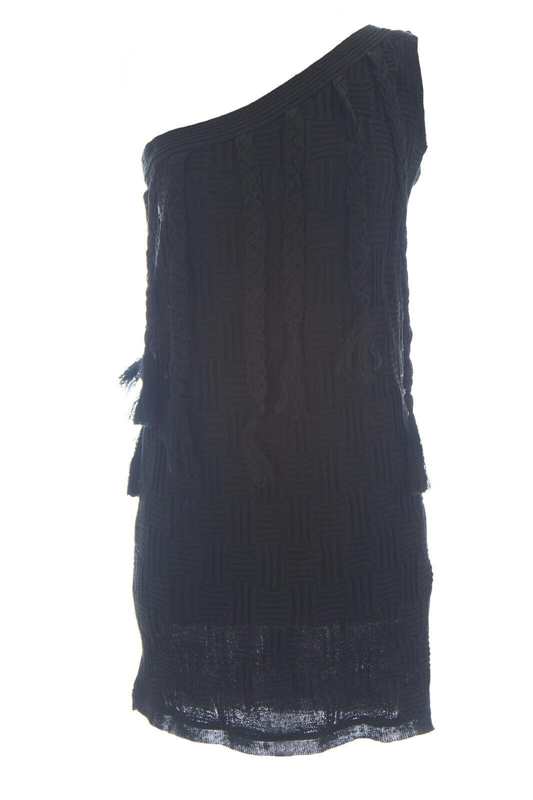 Supertrash Damen Schwarz Strick Leinen Einschultrig Dolemite Kleid