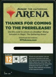 EMAIL Limit 1 per account 6 packs Zendikar Rising Prerelease Code MTG ARENA