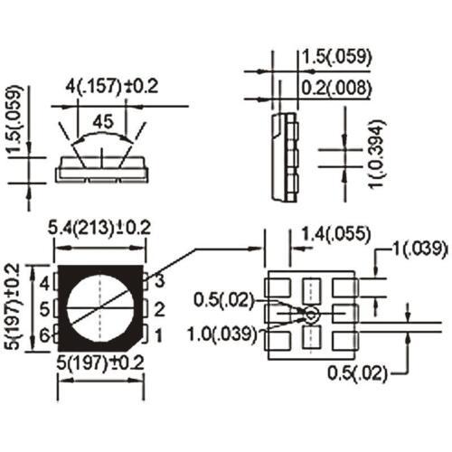 Blanch Smt 10x SMD POWER LED 5050 3-Chip Bianco-Bianco SMDs LED WHITE Bianco