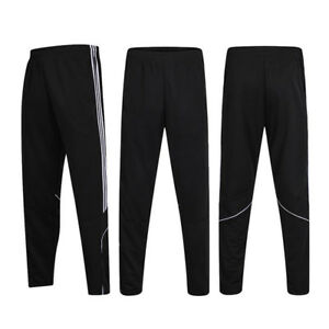 Mens Track Jogger Pants Slim Sweatpants Running Sports Side Stripe Bottoms X240 by Fittoo