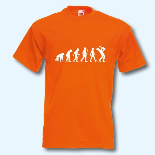 Musik Saxophonist Fun-Shirt Evolution Saxophon S-XXXL T-Shirt Musiker