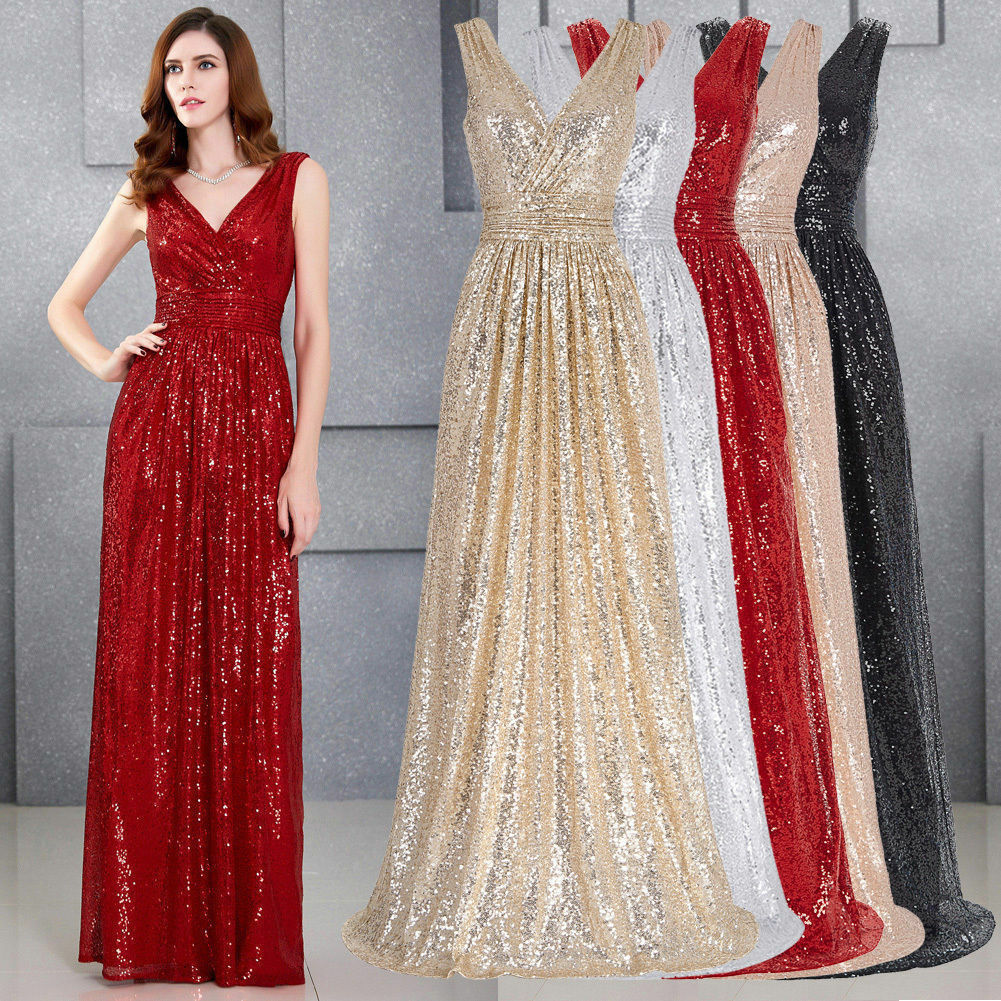 Elegant Formal Ball Gown Prom Sequin Bridesmaid Dresses Wedding Party Dress 6-20