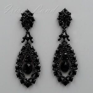 Black Alloy Jet Crystal Rhinestone Chandelier Drop Dangle Earrings ...