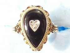 RING GOLD 14K 2.0 GRAMS SIZE 4 STONE BLACK HEART