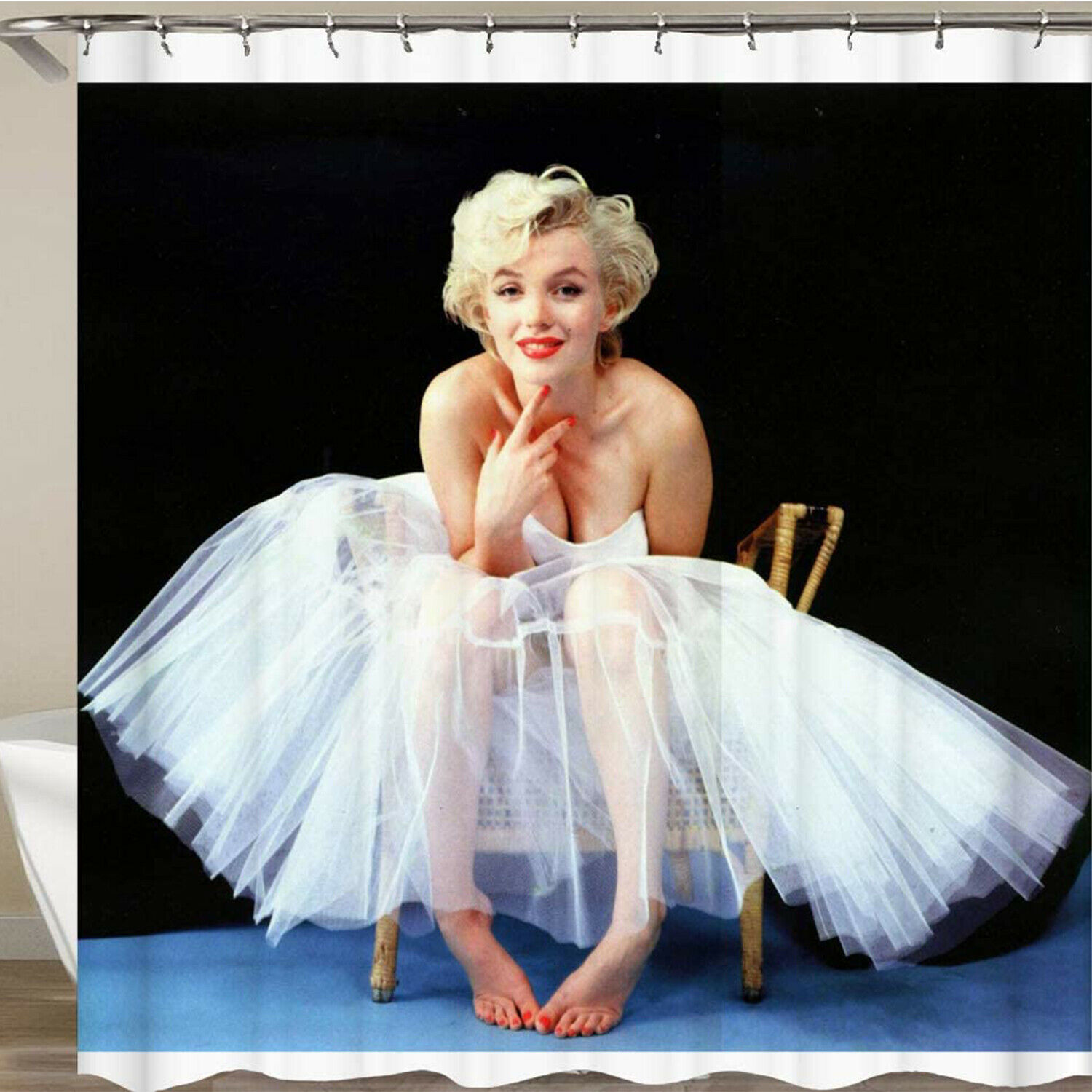 Marilyn Monroe Shower Curtain Decor BLACK Background Bathroom Waterproof Polyest