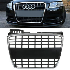 CHROME-BADGELESS-DEBADGED-SPORT-RADIATOR-GRILL-GRILLE-FOR-AUDI-S4-QUATTRO-05-09
