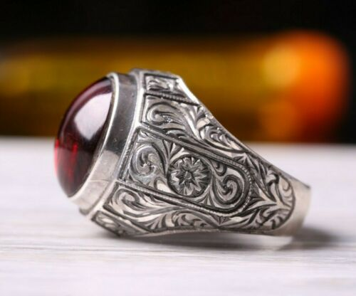 925 Sterling Silver  Sapphire Stone Turkish Jewelry Fine Mens Ring Usa All Size