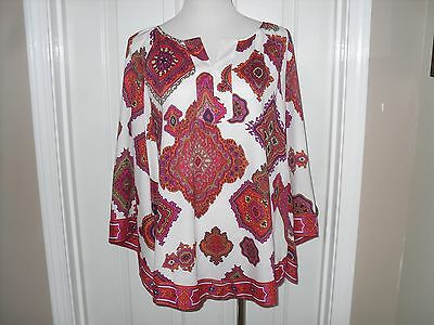 NWT Chico's 3//4-Sleeve Modern Movement Cold Shoulder Top Cool Multi