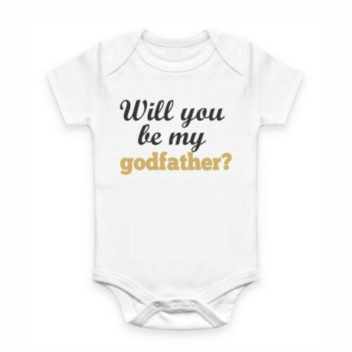Cute Baby Clothes Romper with print Will you be my Godfather?