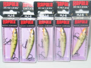 Lot Of 5 New In Box Rapala Husky Jerk HJ6 SILVER BLUE Suspending Crankbaits