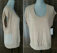Splendid Beige French Terry Cap Sleeve Sheel Panel Inset Back Top Sz M Med