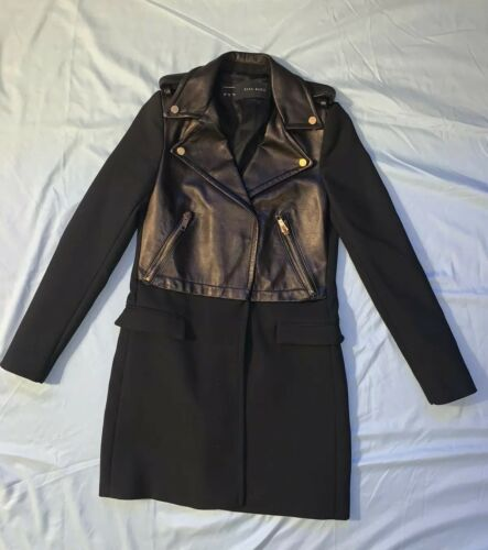 ZARA BLACK LAMBSKIN LEATHER BIKER ZIP COAT JACKET