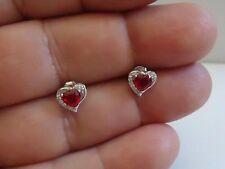 STUD EARRINGS 925 STERLING SILVER HEART SHAPE W/ 1.10 CT RUBY & ACCENTS