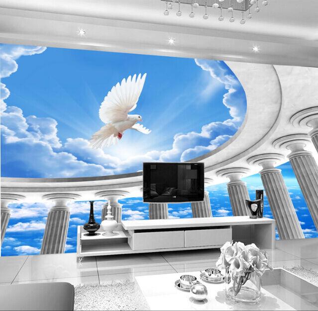 3D Schöner Himmel, Tauben 343 Fototapeten Wandbild Fototapete BildTapete Familie