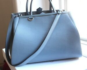 8d4262838db0 Image is loading Fendi-2Jours-Saffiano-Medium-Tote-Bag-Powdered-Blue-