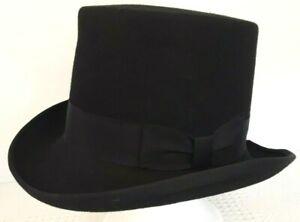 Hats In The Belfry Top Hat Black Wool Felt Medium Steampunk
