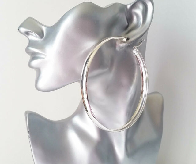 Gorgeous Huge Shiny Plain Silver Tone Wide Hoop Earrings 9 5cm Hoops