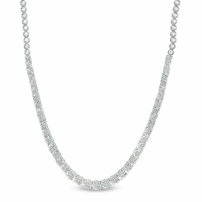 """16/"""" Created Diamond Graduated Tennis Necklace 40.00tcw 925 Solid Sterling Silver"""