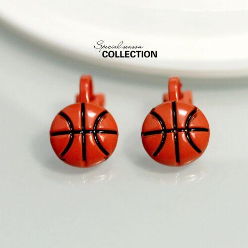 Boucles d/'Oreilles Clips Puces Petit Balon Basket Rouge Vintage Class Fin J1