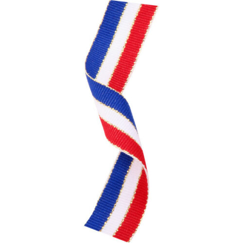 3 x Red//White//Blue Medal Ribbon with Gold metal Clip MR1