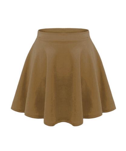 Kids Girls Children High Waisted Stretch Lippy Flared Skirts Skater Short 5-13