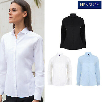 Henbury Women's Long Sleeve Stretch Cotton Shirt H533 - Office Formal Workwear Halten Sie Die Ganze Zeit Fit