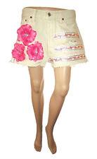 Levis 501 Womens Shorts Beige Hand Custom Embellish Distress Hot Pants W34 AF43