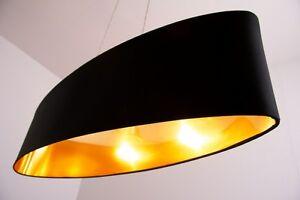 Lampe-suspension-noire-Doree-Plafonnier-Lampe-pendante-Lustre-Metal-Tissu-115241