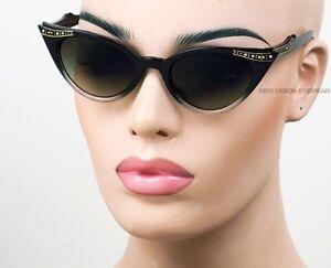 Rhinestone-Cat-Eye-Sunglasses-Pinup-50s-Vintage-Style-Smoke-Two-Tone-Gold-K17C