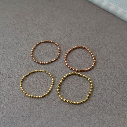 1pcs,585,14k Gold,Rose Gold,White Gold,1.2mm Ball Chain Ring,Stacking,Midi Ring