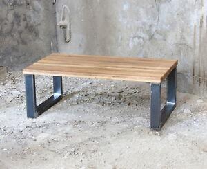 BestLoft® Couchtisch Eiche massiv Stahl Sofatisch Loungetisch ...