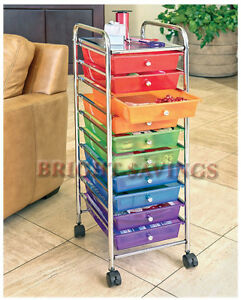 New 10 Multi Color Drawer Metal Rolling Cart Scrapbook Organizer ...
