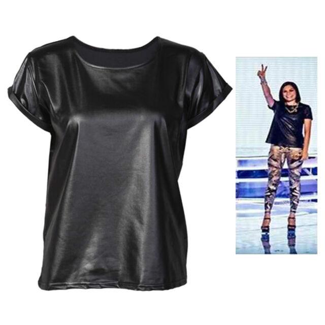 Womens Short Sleeve Jessie J Wet look Faux PVC T-Shirt Vest Top Plus Size 8-26