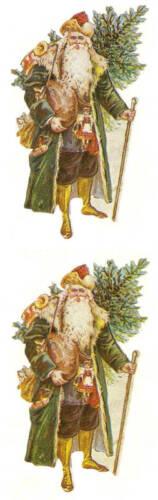 Sandylion Vintage 80/'s VICTORIAN SANTA Christmas Stickers 2 Squares RETIRED