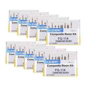 10X-AZDENT-Dental-Diamond-Burs-Composite-Resin-Kit-FG-114-8pcs-box