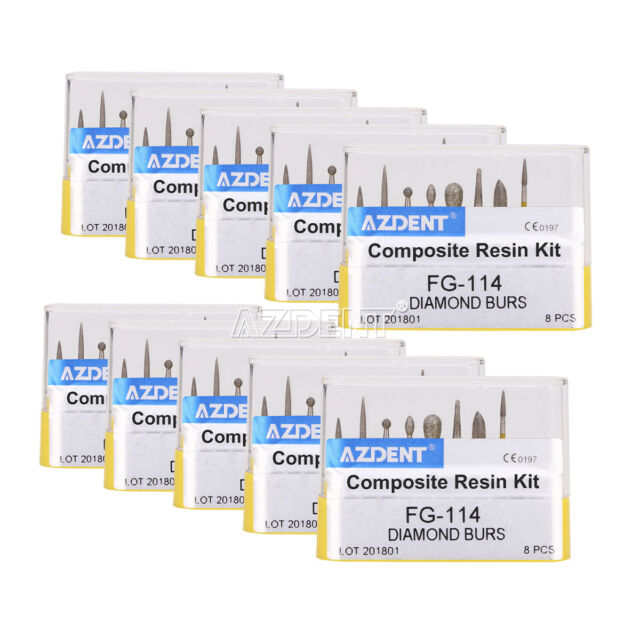 10X AZDENT Dental Diamond Burs Composite Resin Kit FG-114 8pcs/box
