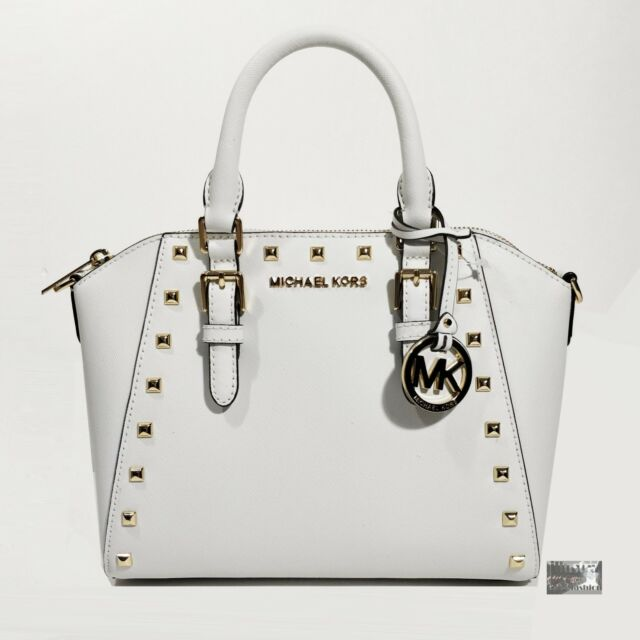 7aa09effcdd1 NWT  328 Michael Kors Ciara White Saffiano Leather Studded Satchel Crossbody  Bag